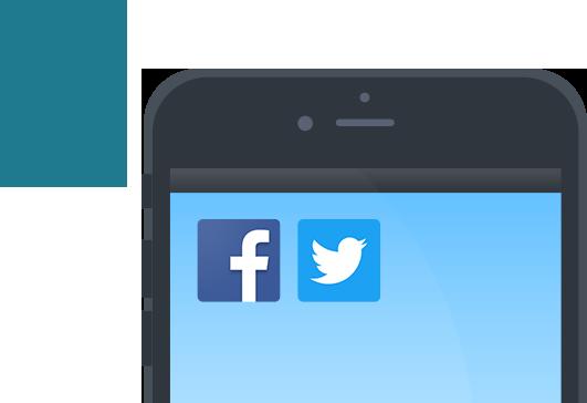 TwitterやFacebookなどのSNSとの外部サービスと連携